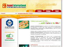 Anand International, Manufacturers & Exporters of dyes & dye intermediates in Rajkot, Gujarat, India. Acid dyes for Leather, Silk, Wool, Nylon, Direct dyes for paper industry, Speciality pigments for paint industry, Chemicals for textile Wet processing, etc